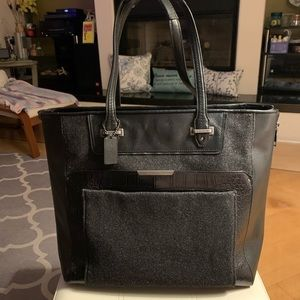 Coach Black/Wool Croc Leather Embossed Tote F33395